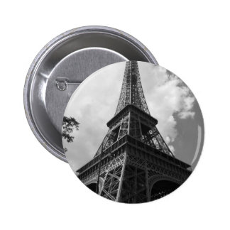 Black & White Eiffel Tower in Paris 2 Inch Round Button