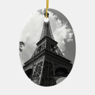 Black & White Eiffel Tower in Paris Ceramic Oval Ornament