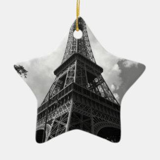 Black & White Eiffel Tower in Paris Ceramic Star Ornament