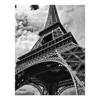 Black White Eiffel Tower Paris Europe Travel Letterhead