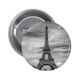 Black & White Eiffel Tower Paris France 2 Inch Round Button