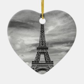 Black & White Eiffel Tower Paris France Ceramic Heart Ornament