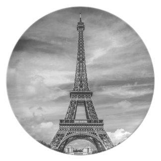 Black & White Eiffel Tower Paris France Party Plates