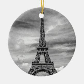 Black & White Eiffel Tower Paris France Round Ceramic Ornament