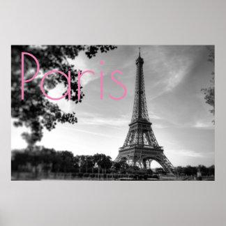 Black White Eiffel Tower Paris Romantic Love City Poster
