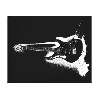 Black & White Electric Guitar - Canvas