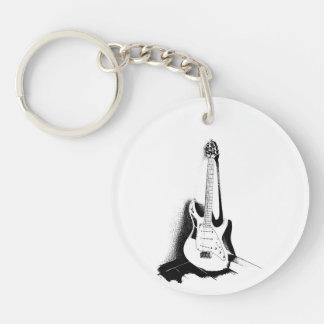 Black & White Electric Guitar - Keyring