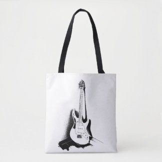 Black & White Electric Guitar - Tote Bag