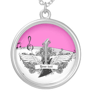Black white electric guitar wings on pink round pendant necklace