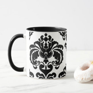 Black & White Elegant Chic Damask Pattern Mug