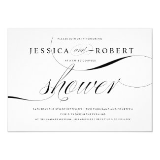 Black & White Elegant Couples Shower Card
