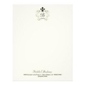 Black White Elegant Fleur de Lis Monogram Letterhead