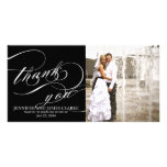 Black White Elegant Script Wedding Thank You Custom Photo Card