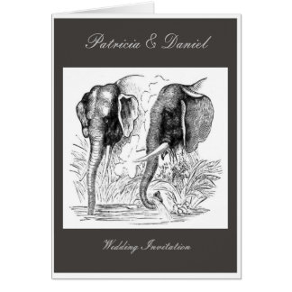 Black & White Elephant Wedding Card