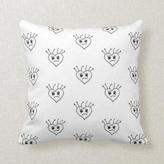 black white emo sad crying heart pattern pillow