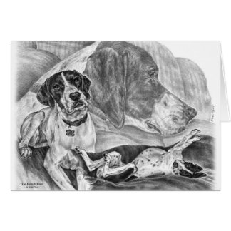 Black & White English Pointer Dogs Card