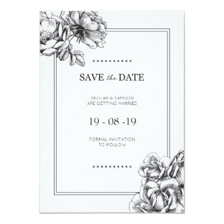 Black & White Etched Floral Wedding Save the Dates Card
