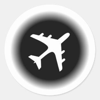 Black white fade airplane design round sticker