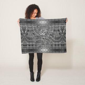 Black & White Fantasy Owl Camouflage Fleece Blanket