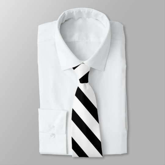 Black White Fat Tuxedo Stripe Formal Tie