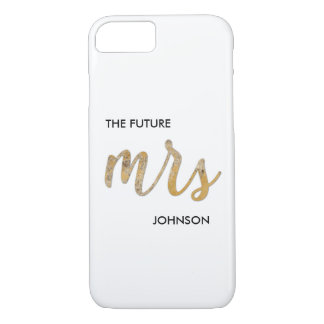 Black White Faux Gold Foil Future/New Mrs Name iPhone 8/7 Case
