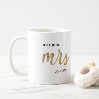 Black White Faux Gold Foil Future/New Mrs Name Mug