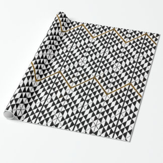 Black white faux gold glitter abstract patternfaux wrapping paper
