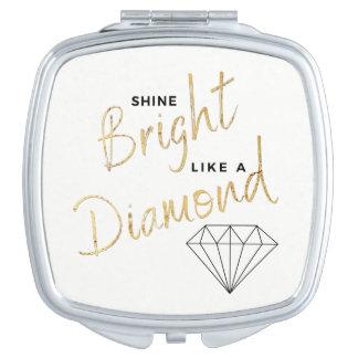 Black White Faux Gold Shine Bright  Diamond Script Travel Mirror
