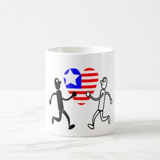 black white figures with American heart shaped mug