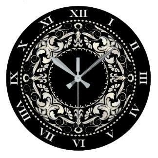 Black & White Filigree & Roman Numerals Large Clock