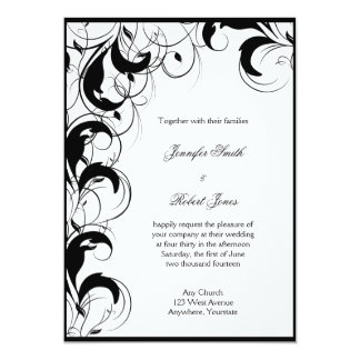 Black White Filigree Vintage Wedding Invitation