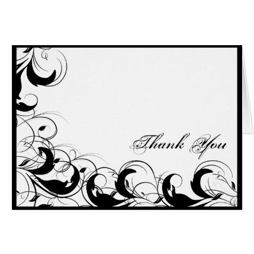 Black White Filigree Vintage Wedding Thank You Cards