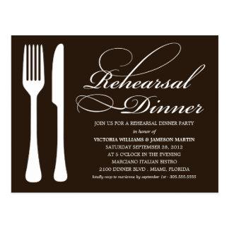 BLACK & WHITE FLATWARE | REHEARSAL DINNER INVITE POSTCARD