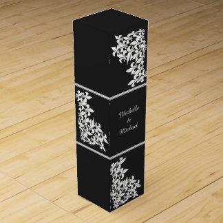 Black White Fleur de Lis Damask Wine Gift Box