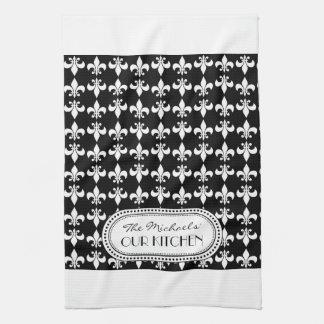 Black | White Fleur de Lis Monogram Pattern Kitchen Towel