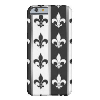 Black White Fleur De Lis Pattern Print Design Barely There iPhone 6 Case