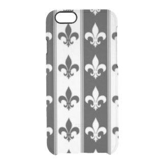 Black White Fleur De Lis Pattern Print Design Clear iPhone 6/6S Case