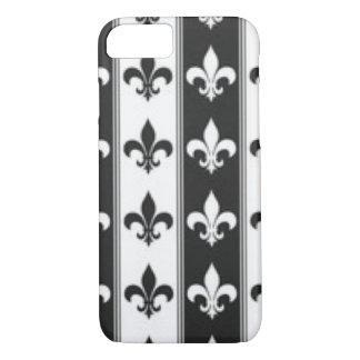 Black White Fleur De Lis Pattern Print Design iPhone 8/7 Case