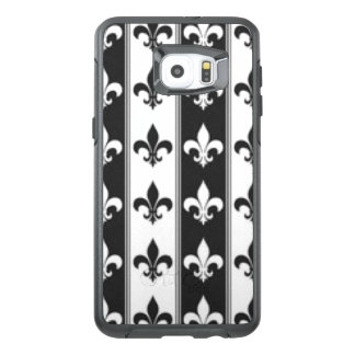 Black White Fleur De Lis Pattern Print Design OtterBox Samsung Galaxy S6 Edge Plus Case