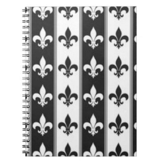 Black White Fleur De Lis Pattern Print Design Spiral Notebook