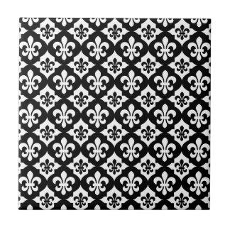 Black White Fleur De Lis Pattern Tile