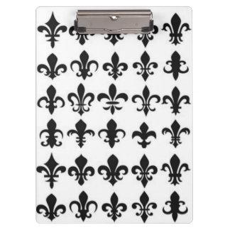 Black White Fleur Pattern Print Design Clipboards