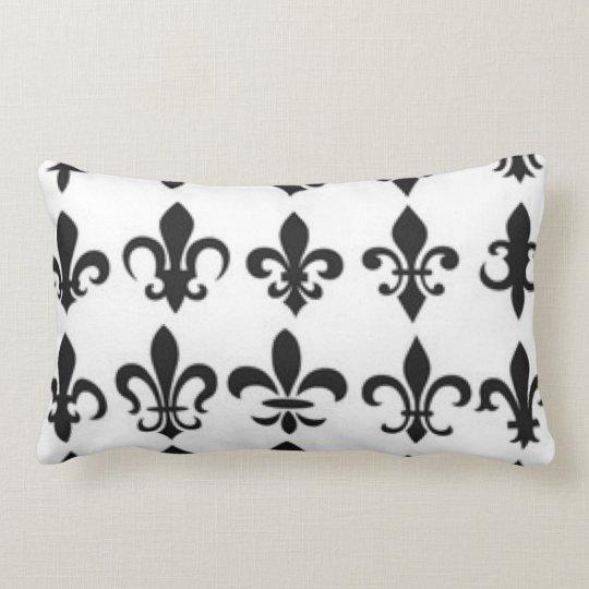 Black White Fleur Pattern Print Design Lumbar Pillow