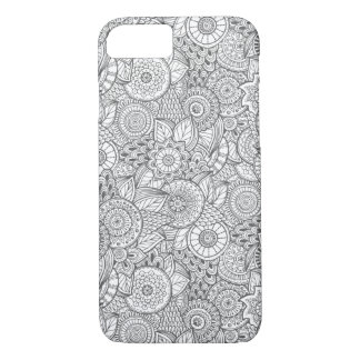 Black & White Floral Abstract Hand Drawn Pattern iPhone 7 Case