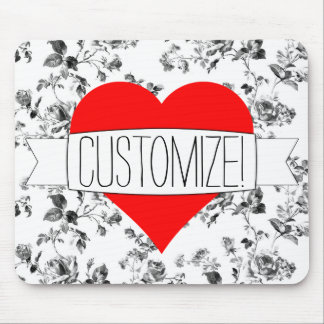 Black & White Floral and Red Heart Custom Mousepad