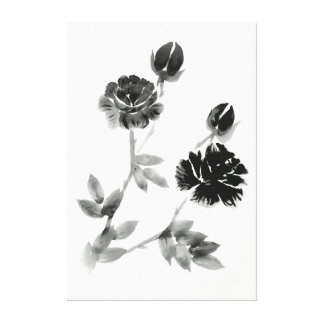 Black White Floral Brush Painting Canvas Print
