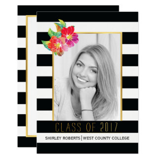 Black white floral Class of 2017 graduation photo Card