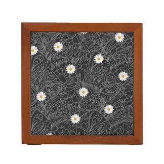 Black white floral daisies striped pattern DIY Desk Organizers