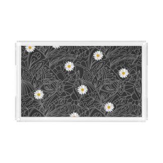 Black white floral daisies striped pattern DIY Perfume Tray