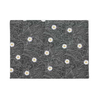 Black white floral daisies striped pattern doormat